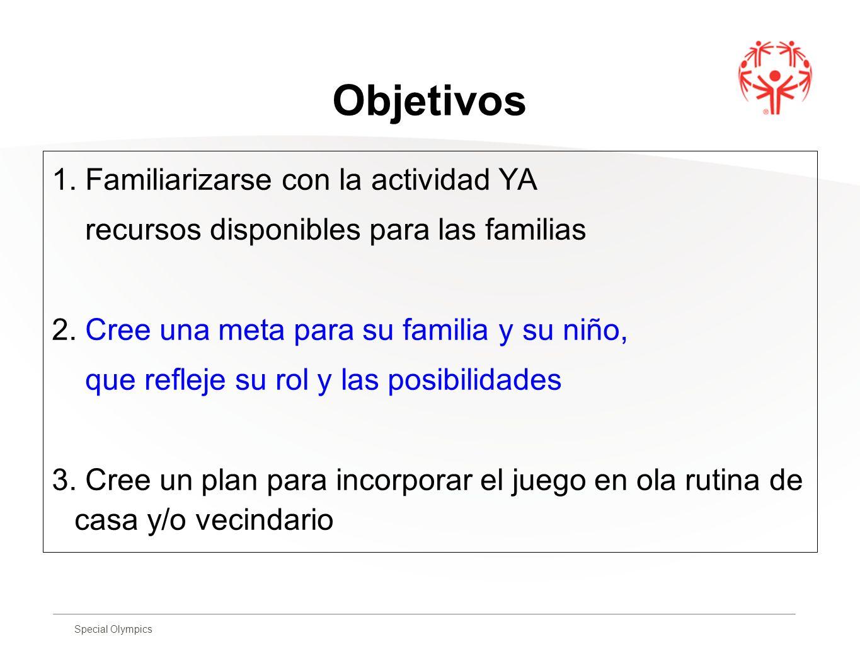 Special Olympics Objetivos 1. Familiarizarse con la actividad YA recursos disponibles para las familias 2. Cree una meta para su familia y su niño, qu