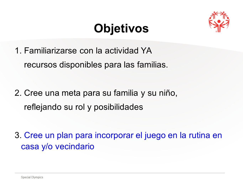 Special Olympics Objetivos 1. Familiarizarse con la actividad YA recursos disponibles para las familias. 2. Cree una meta para su familia y su niño, r