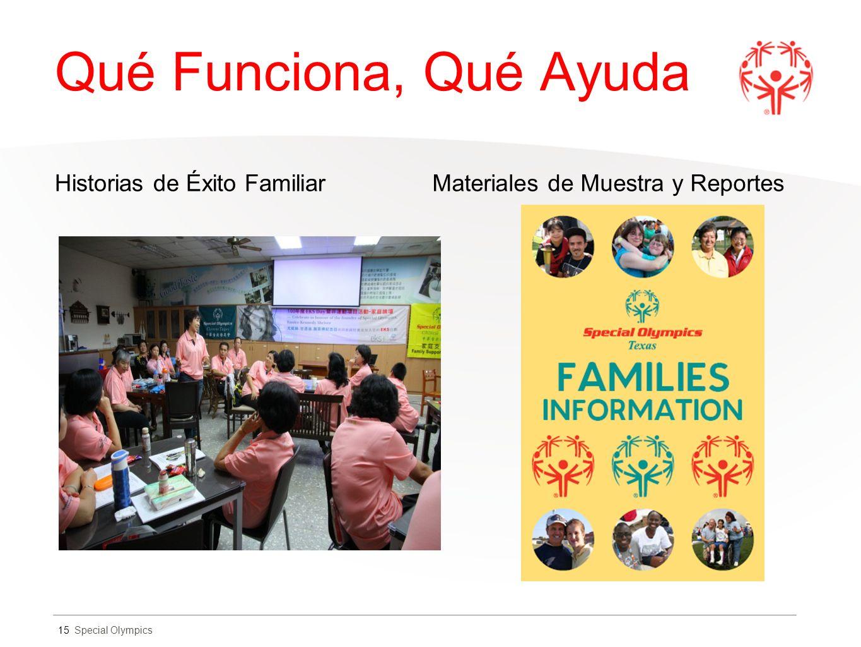 Special Olympics Qué Funciona, Qué Ayuda Historias de Éxito FamiliarMateriales de Muestra y Reportes 15