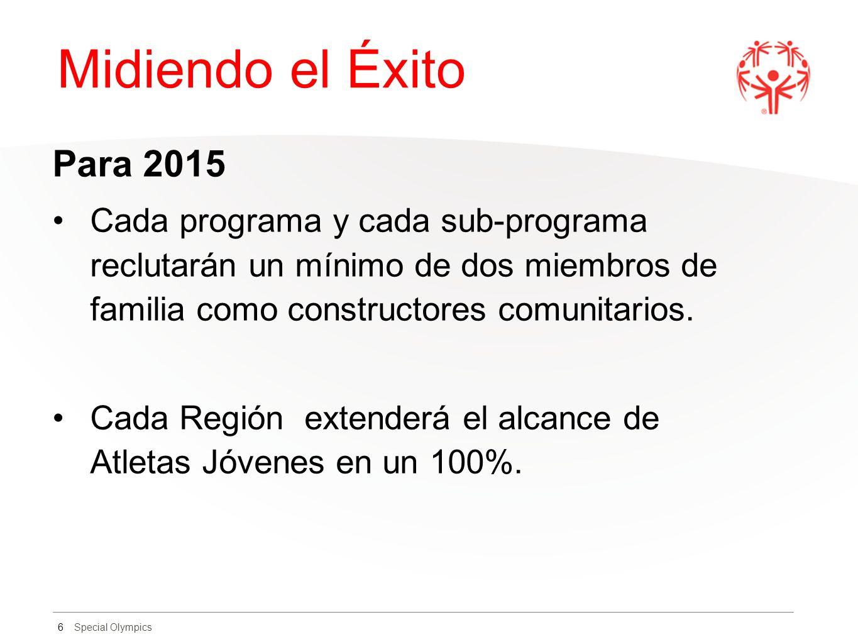 Special Olympics Midiendo el Éxito Para 2015 Cada programa y cada sub-programa reclutarán un mínimo de dos miembros de familia como constructores comu