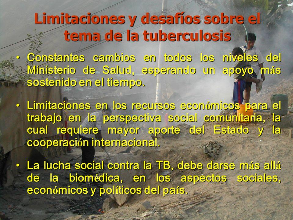 Limitaciones y desafíos sobre el tema de la tuberculosis Constantes cambios en todos los niveles del Ministerio de Salud, esperando un apoyo m á s sos