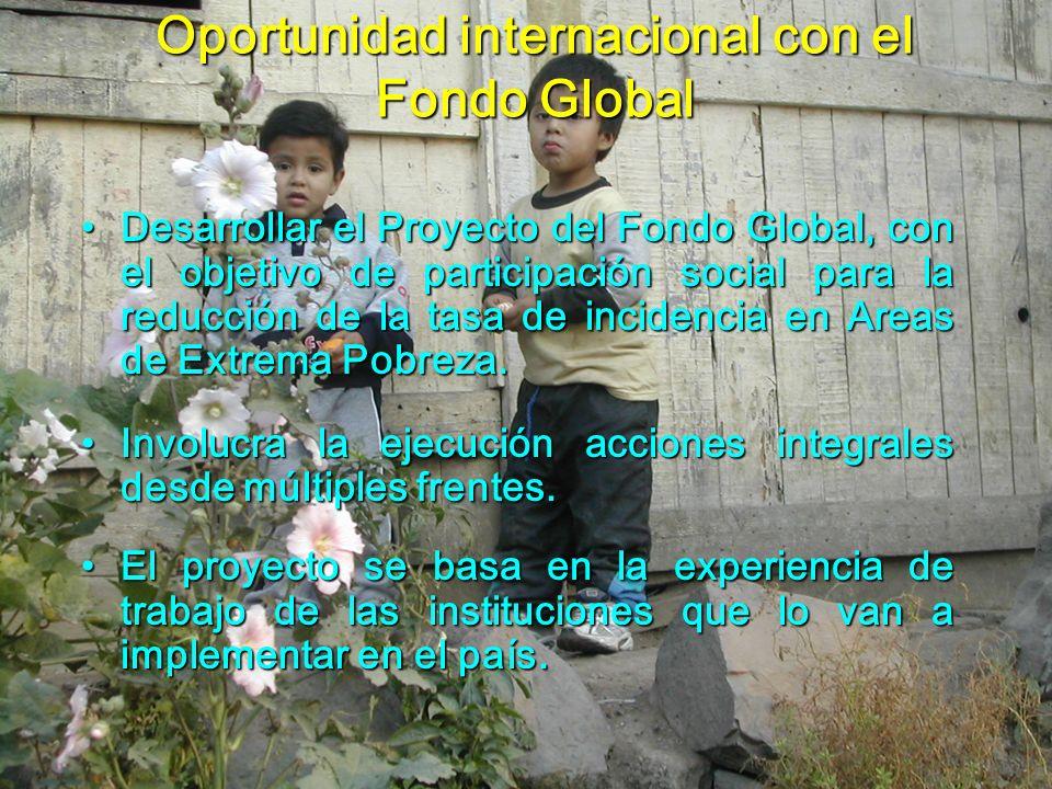 Oportunidad internacional con el Fondo Global Desarrollar el Proyecto del Fondo Global, con el objetivo de participación social para la reducción de l