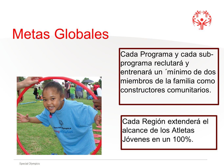 Special Olympics Metas Globales Cada Programa y cada sub- programa reclutará y entrenará un ´mínimo de dos miembros de la familia como constructores c