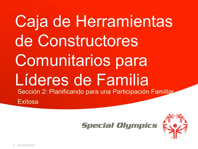 Special Olympics Tabla de Contenido de la Caja Sección 2: Planificando para una Participación Familiar Exitosa Habilidades de liderazgo familiar Estructuras organizacionales Roles y responsabilidades Estrategias clave para el éxito Herramientas de planificación 2