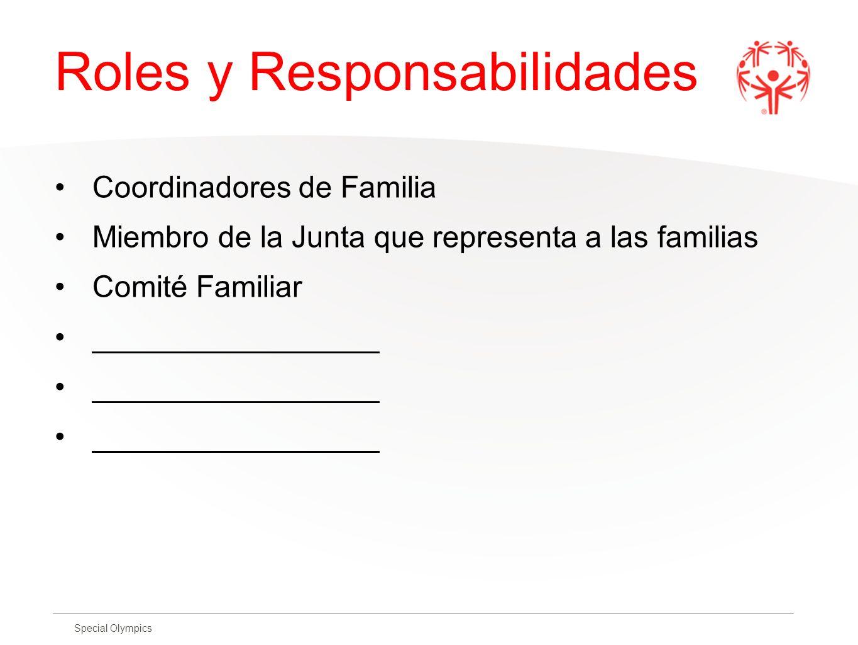 Special Olympics Roles y Responsabilidades Coordinadores de Familia Miembro de la Junta que representa a las familias Comité Familiar ________________