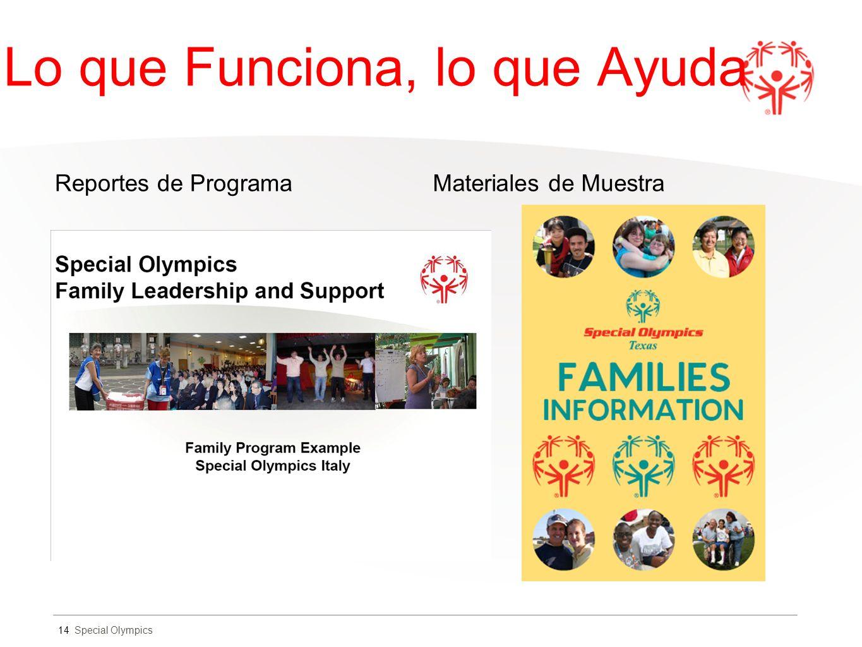 Special Olympics Lo que Funciona, lo que Ayuda Reportes de ProgramaMateriales de Muestra 14