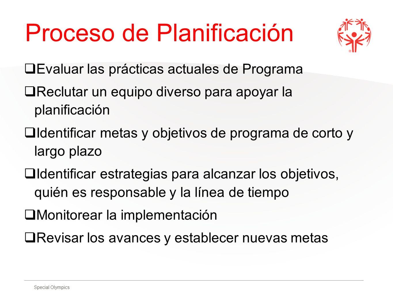 Special Olympics Proceso de Planificación Evaluar las prácticas actuales de Programa Reclutar un equipo diverso para apoyar la planificación Identific