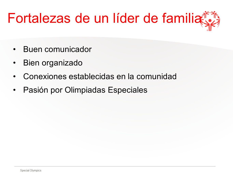 Special Olympics Fortalezas de un líder de familia Buen comunicador Bien organizado Conexiones establecidas en la comunidad Pasión por Olimpiadas Espe