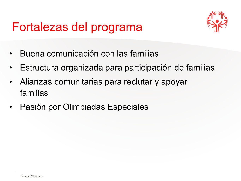 Special Olympics Fortalezas del programa Buena comunicación con las familias Estructura organizada para participación de familias Alianzas comunitaria