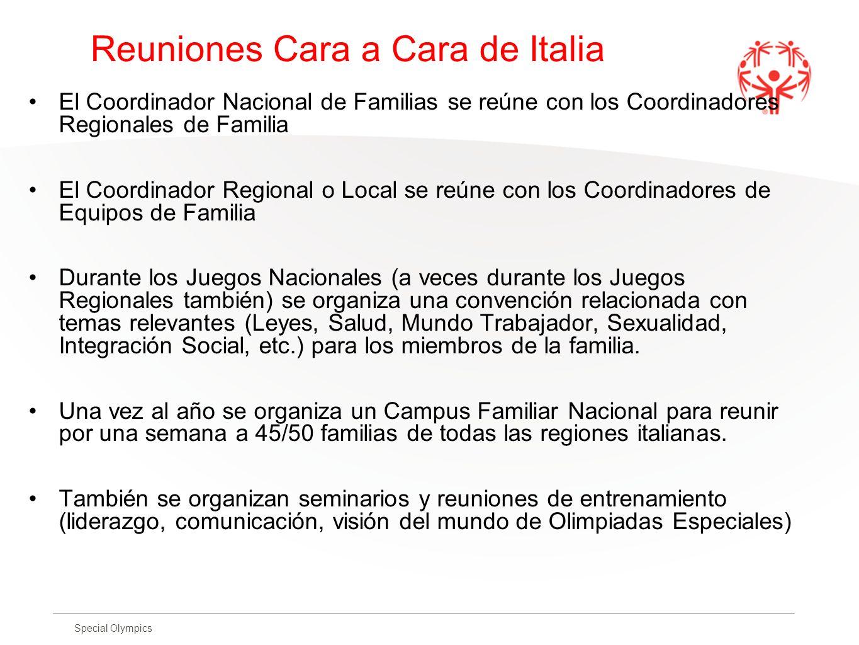 Special Olympics Reuniones Cara a Cara de Italia El Coordinador Nacional de Familias se reúne con los Coordinadores Regionales de Familia El Coordinad