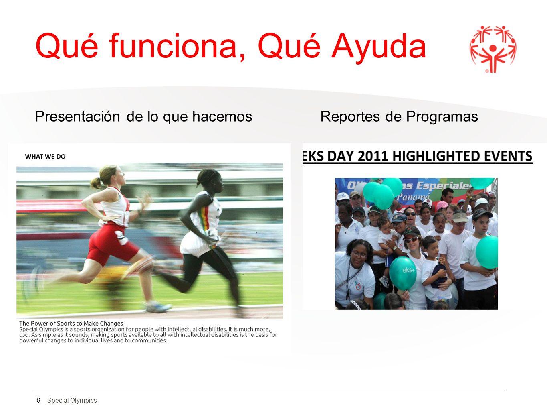 Special Olympics Qué funciona, Qué Ayuda Presentación de lo que hacemos Reportes de Programas 9