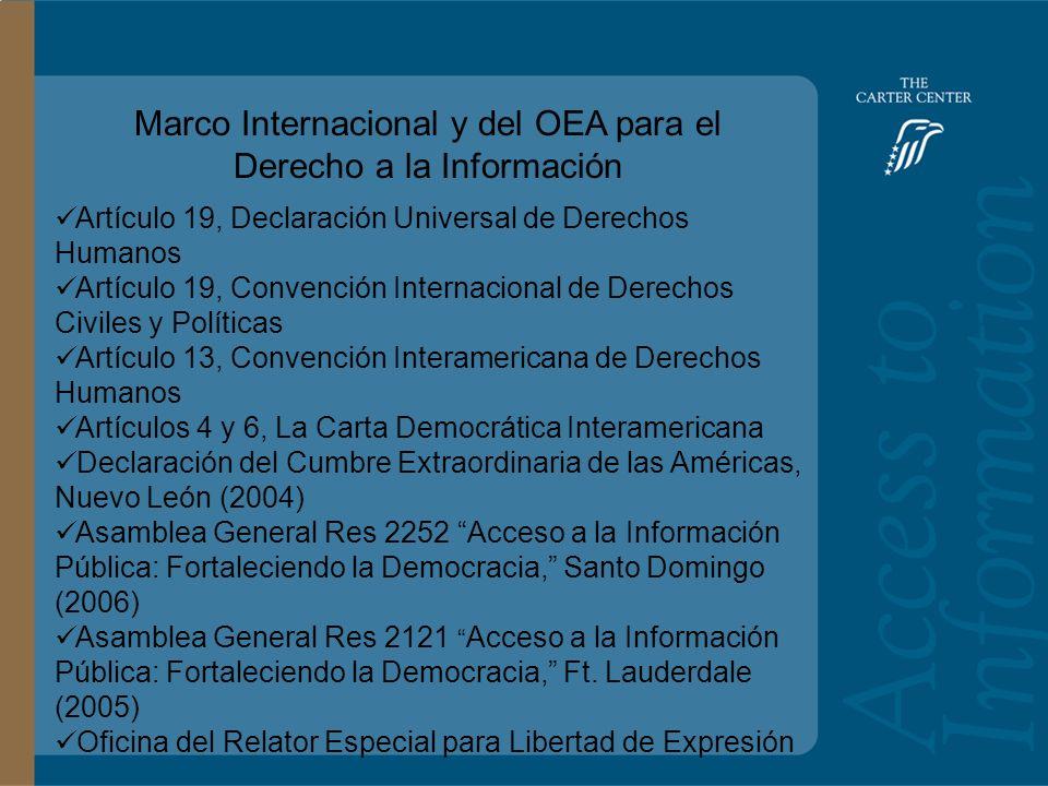 Training Slide Headline Goes Here and Second Line Goes Here Access to Information: Bolivia Marco Internacional y del OEA para el Derecho a la Información Artículo 19, Declaración Universal de Derechos Humanos Artículo 19, Convención Internacional de Derechos Civiles y Políticas Artículo 13, Convención Interamericana de Derechos Humanos Artículos 4 y 6, La Carta Democrática Interamericana Declaración del Cumbre Extraordinaria de las Américas, Nuevo León (2004) Asamblea General Res 2252 Acceso a la Información Pública: Fortaleciendo la Democracia, Santo Domingo (2006) Asamblea General Res 2121 Acceso a la Información Pública: Fortaleciendo la Democracia, Ft.