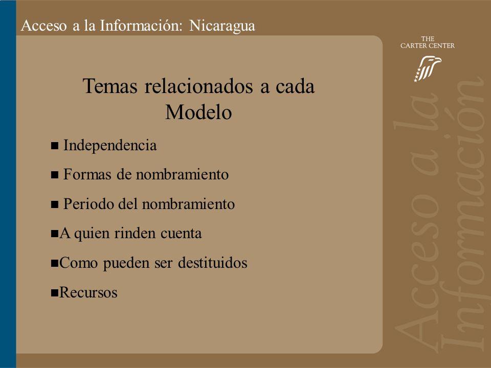 Acceso a la información: Bolivia Acceso a la Información: Nicaragua Temas relacionados a cada Modelo Independencia Formas de nombramiento Periodo del nombramiento A quien rinden cuenta Como pueden ser destituidos Recursos