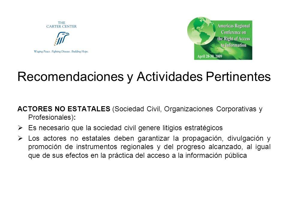 Recomendaciones y Actividades Pertinentes ACTORES NO ESTATALES (Sociedad Civil, Organizaciones Corporativas y Profesionales): Es necesario que la soci