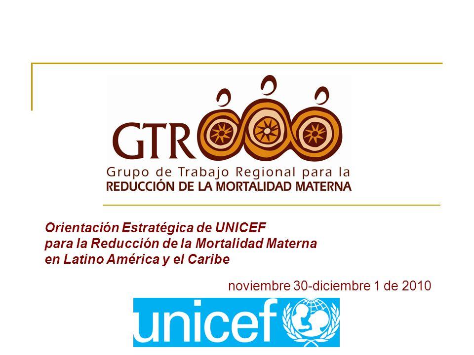 noviembre 30-diciembre 1 de 2010 Orientación Estratégica de UNICEF para la Reducción de la Mortalidad Materna en Latino América y el Caribe