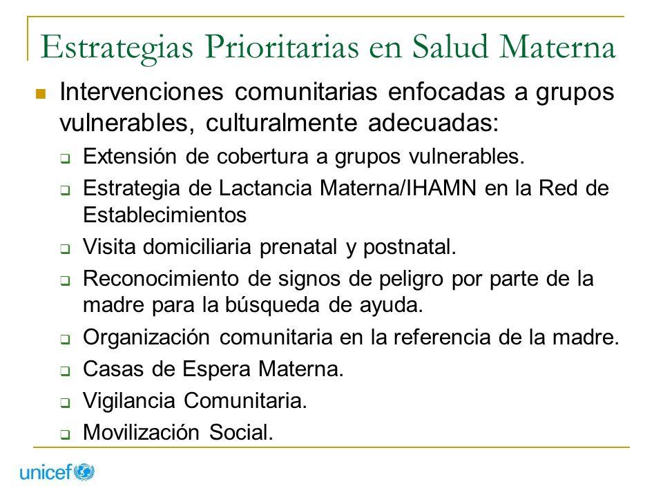 Estrategias Prioritarias en Salud Materna Intervenciones comunitarias enfocadas a grupos vulnerables, culturalmente adecuadas: Extensión de cobertura