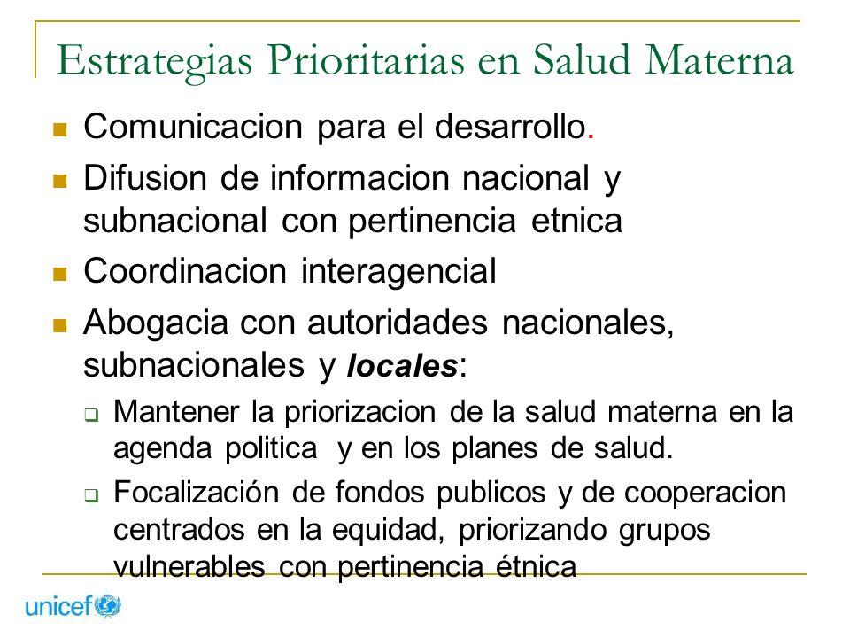 Estrategias Prioritarias en Salud Materna Comunicacion para el desarrollo. Difusion de informacion nacional y subnacional con pertinencia etnica Coord