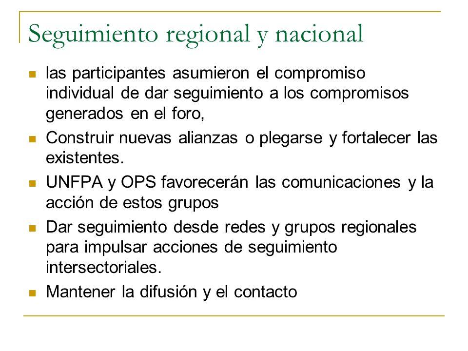 Seguimiento regional y nacional las participantes asumieron el compromiso individual de dar seguimiento a los compromisos generados en el foro, Construir nuevas alianzas o plegarse y fortalecer las existentes.