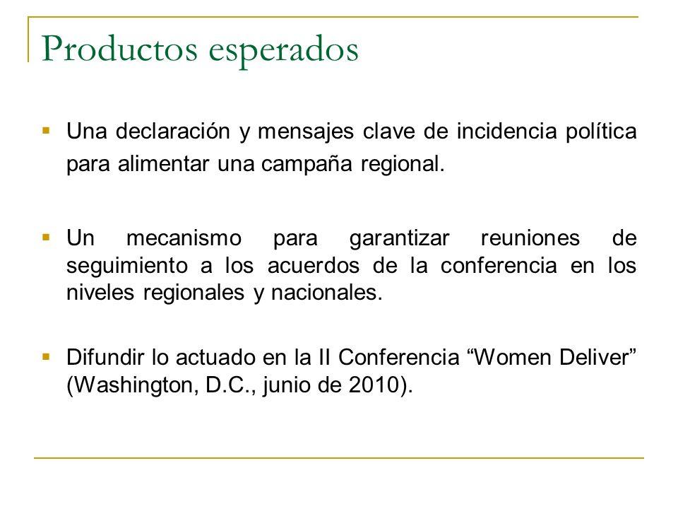 Productos esperados Una declaración y mensajes clave de incidencia política para alimentar una campaña regional.