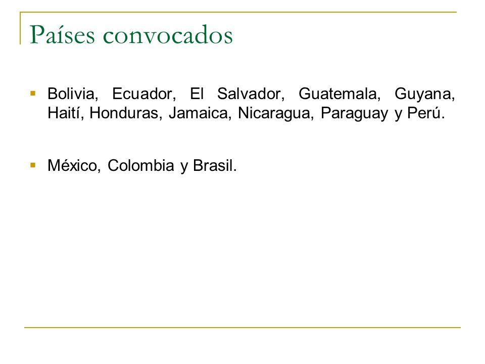Países convocados Bolivia, Ecuador, El Salvador, Guatemala, Guyana, Haití, Honduras, Jamaica, Nicaragua, Paraguay y Perú.