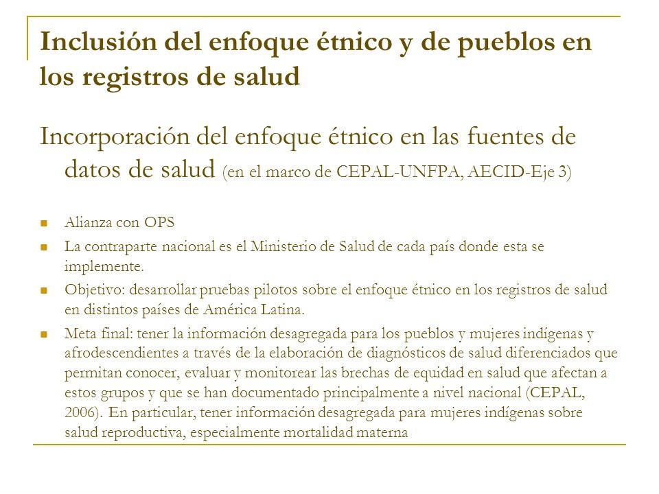 Inclusión del enfoque étnico y de pueblos en los registros de salud Incorporación del enfoque étnico en las fuentes de datos de salud (en el marco de