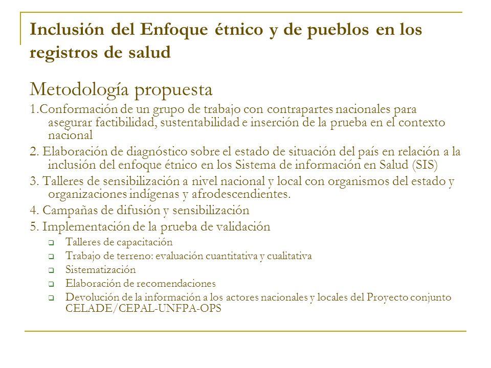 Inclusión del Enfoque étnico y de pueblos en los registros de salud Metodología propuesta 1.Conformación de un grupo de trabajo con contrapartes nacio