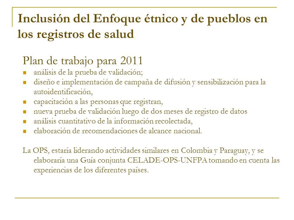 Plan de trabajo para 2011 análisis de la prueba de validación; diseño e implementación de campaña de difusión y sensibilización para la autoidentifica