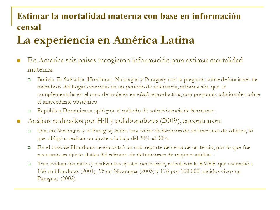 Estimar la mortalidad materna con base en información censal La experiencia en América Latina En América seis países recogieron información para estim