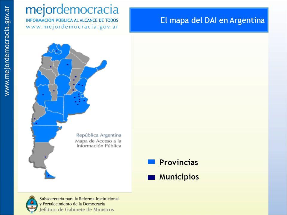 El mapa del DAI en Argentina Provincias Municipios