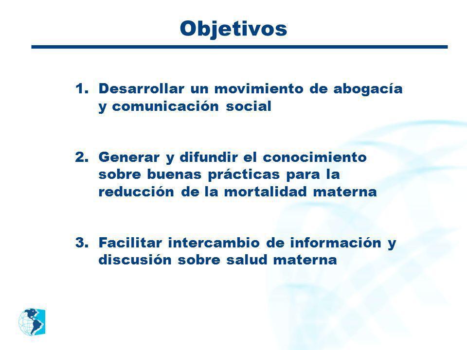 Objetivos 1.Desarrollar un movimiento de abogacía y comunicación social 2.Generar y difundir el conocimiento sobre buenas prácticas para la reducción