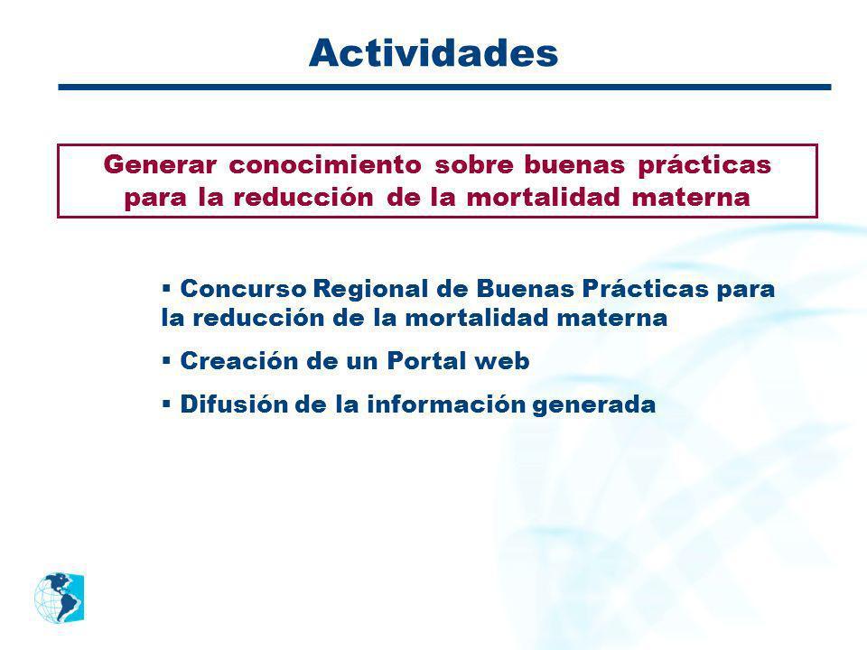 Actividades Generar conocimiento sobre buenas prácticas para la reducción de la mortalidad materna Concurso Regional de Buenas Prácticas para la reduc