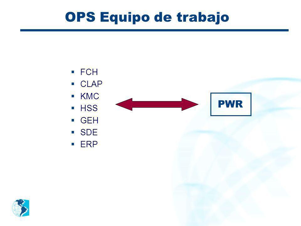 OPS Equipo de trabajo FCH CLAP KMC HSS GEH SDE ERP PWR