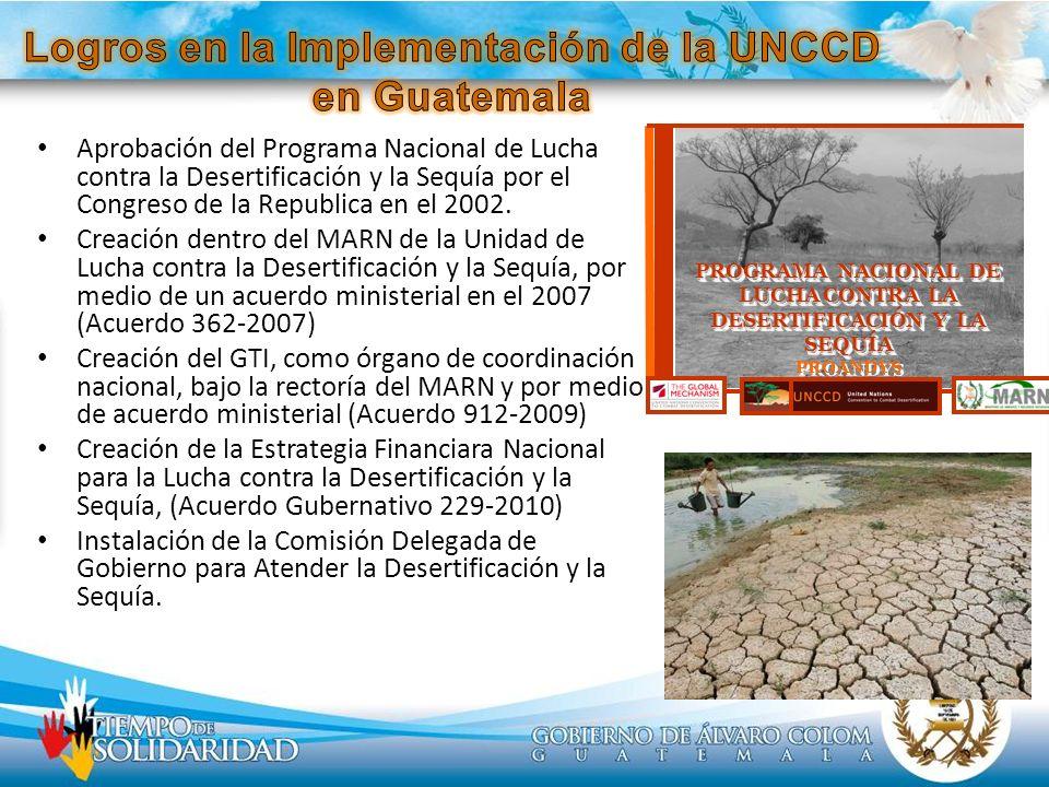 Aprobación del Programa Nacional de Lucha contra la Desertificación y la Sequía por el Congreso de la Republica en el 2002. Creación dentro del MARN d