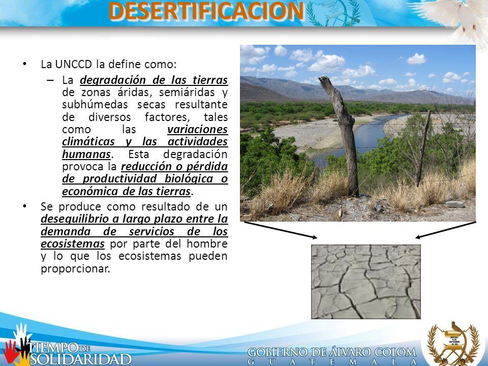 DESERTIFICACIONDESERTIFICACION La UNCCD la define como: – La degradación de las tierras de zonas áridas, semiáridas y subhúmedas secas resultante de d