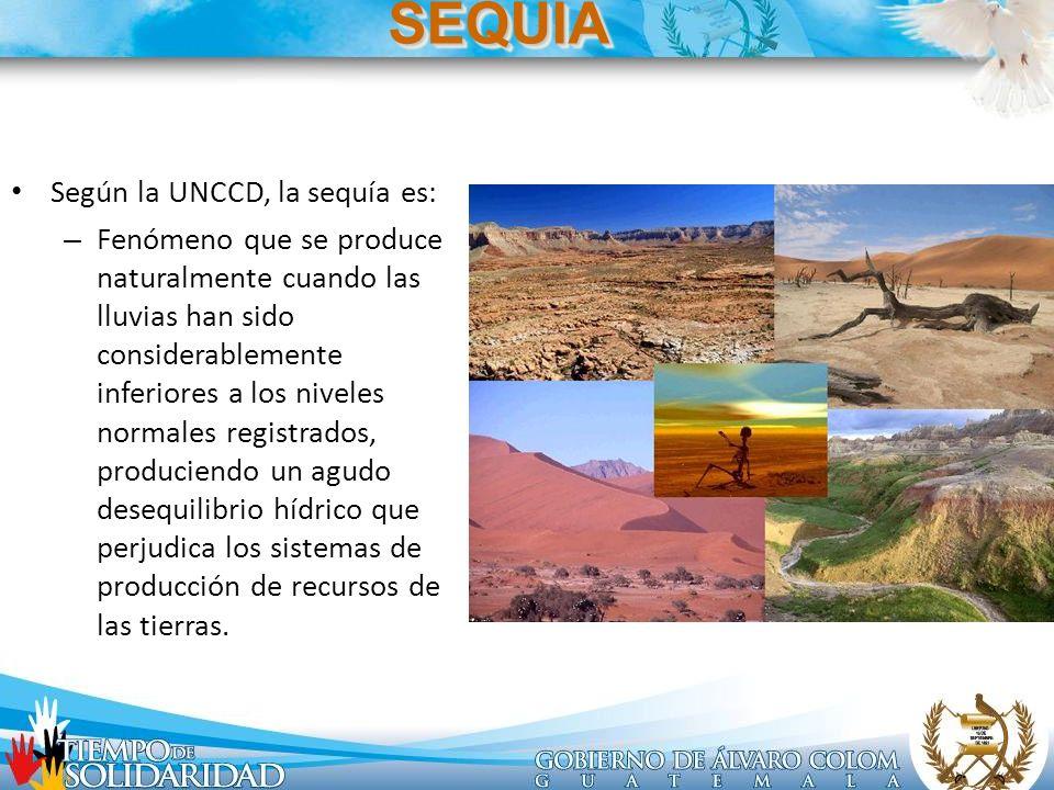 Según la UNCCD, la sequía es: – Fenómeno que se produce naturalmente cuando las lluvias han sido considerablemente inferiores a los niveles normales r