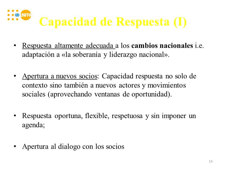 Capacidad de Respuesta (I) Respuesta altamente adecuada a los cambios nacionales i.e.