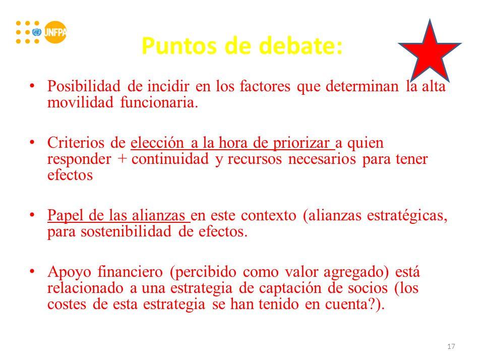 Puntos de debate: Posibilidad de incidir en los factores que determinan la alta movilidad funcionaria.