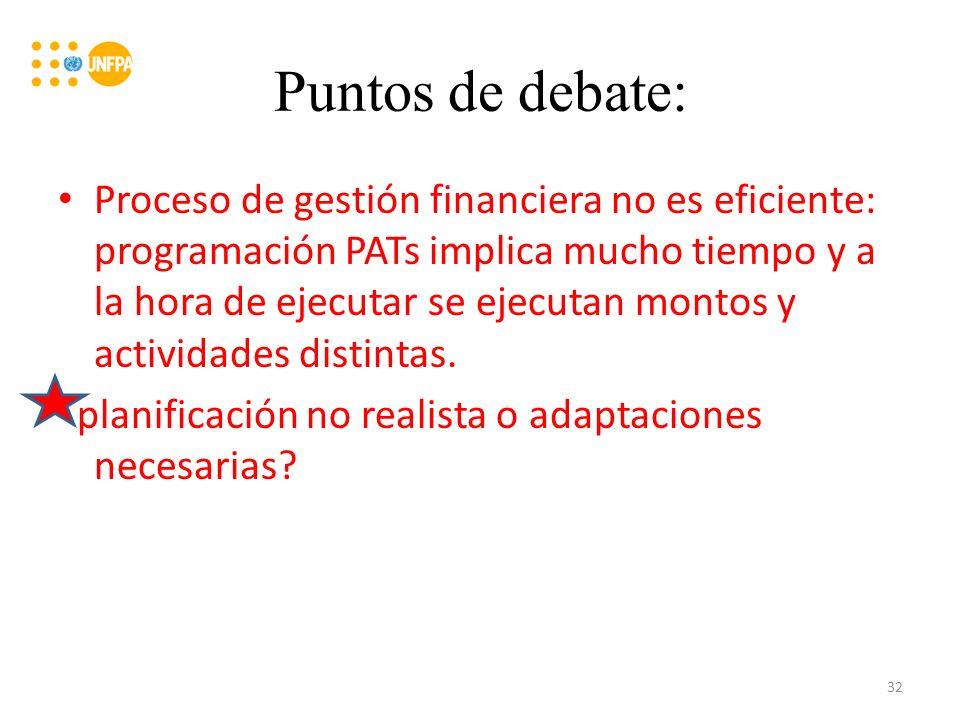 Puntos de debate: Proceso de gestión financiera no es eficiente: programación PATs implica mucho tiempo y a la hora de ejecutar se ejecutan montos y actividades distintas.
