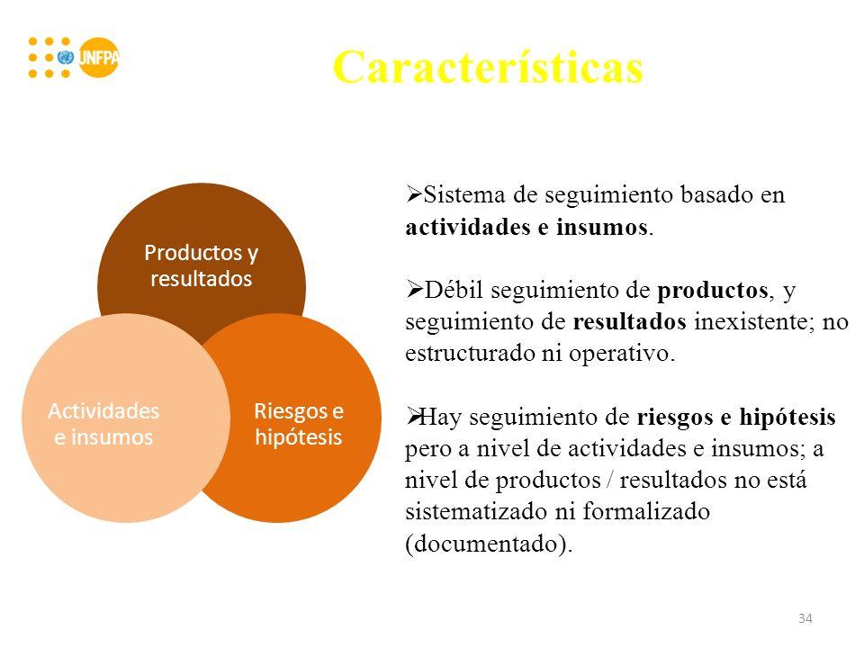 Características Productos y resultados Riesgos e hipótesis Actividades e insumos Sistema de seguimiento basado en actividades e insumos.