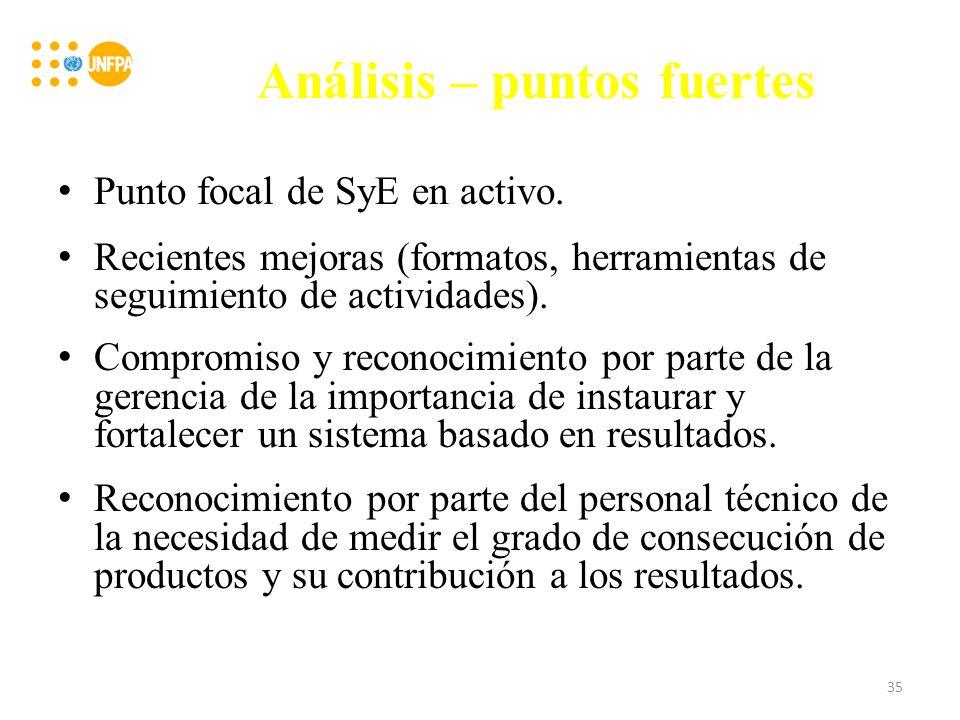Análisis – puntos fuertes Punto focal de SyE en activo.
