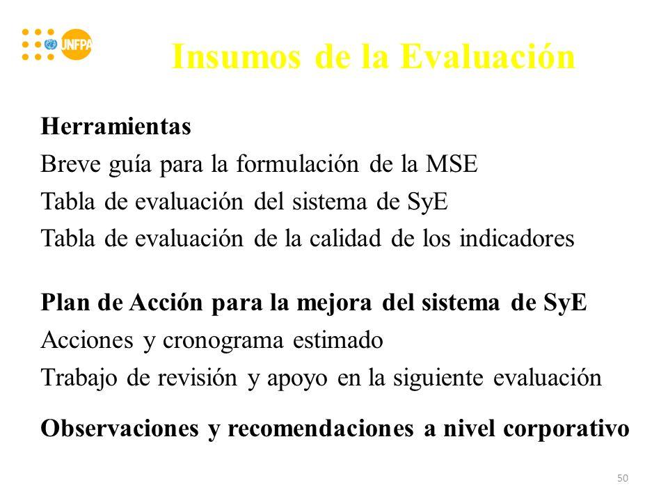 Insumos de la Evaluación Herramientas Breve guía para la formulación de la MSE Tabla de evaluación del sistema de SyE Tabla de evaluación de la calidad de los indicadores Plan de Acción para la mejora del sistema de SyE Acciones y cronograma estimado Trabajo de revisión y apoyo en la siguiente evaluación Observaciones y recomendaciones a nivel corporativo 50