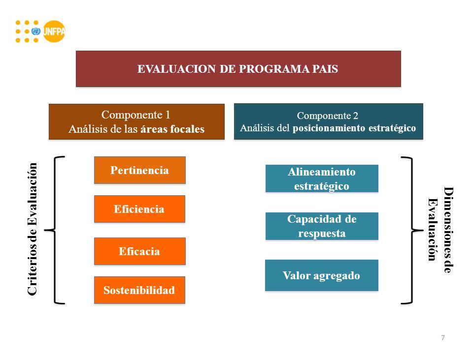 EVALUACION DE PROGRAMA PAIS Componente 1 Análisis de las áreas focales Componente 1 Análisis de las áreas focales Componente 2 Análisis del posicionamiento estratégico Componente 2 Análisis del posicionamiento estratégico Pertinencia Eficiencia Eficacia Sostenibilidad Alineamiento estratégico Capacidad de respuesta Valor agregado Criterios de Evaluación Dimensiones de Evaluación 7