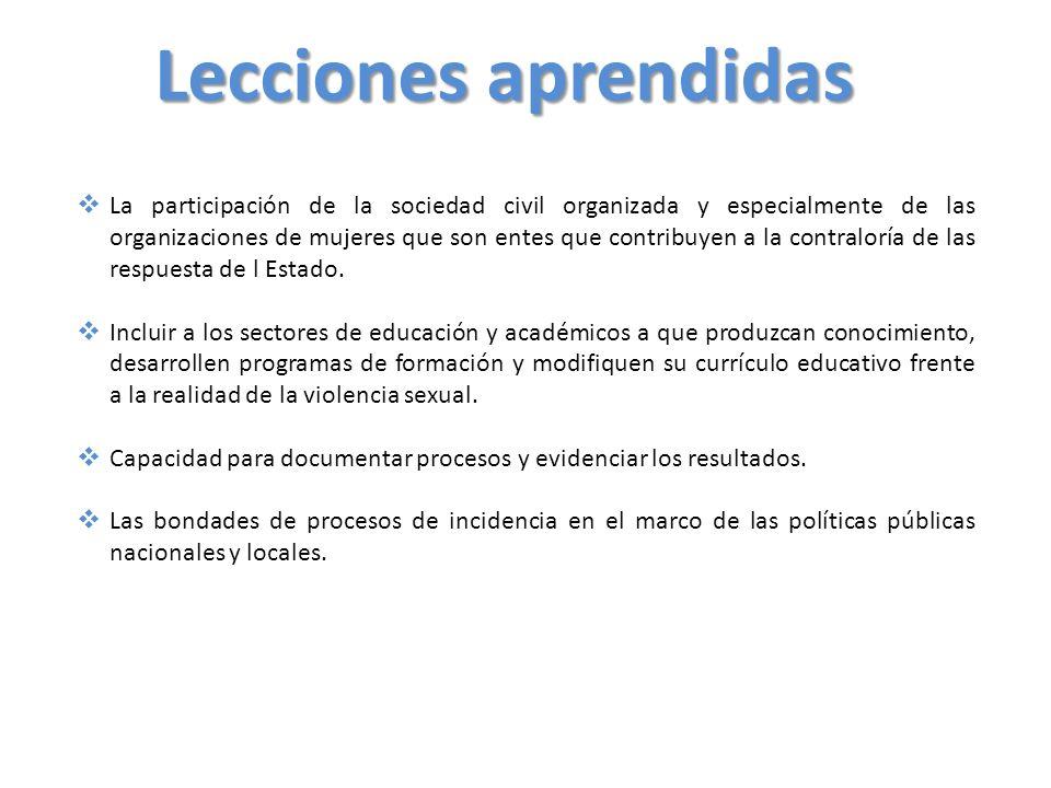 Lecciones aprendidas La participación de la sociedad civil organizada y especialmente de las organizaciones de mujeres que son entes que contribuyen a