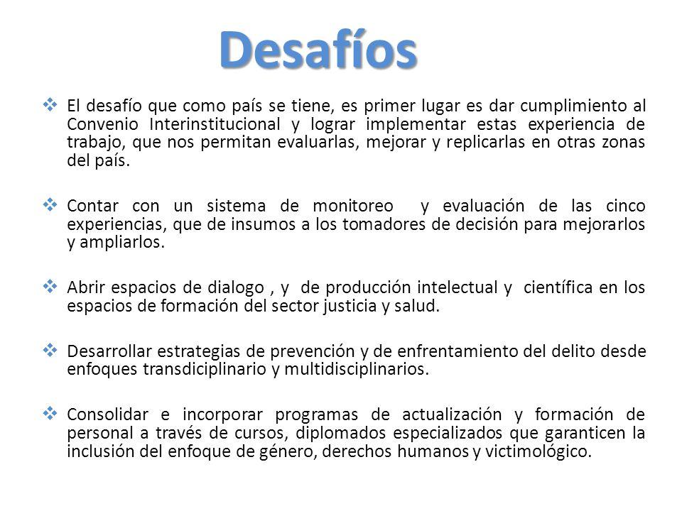Desafíos Incorporar la formación en la atención a la violencia sexual, en el currículo de formación de las escuelas tanto del sector justicia como del sector salud, en alianza con las Universidades del país.