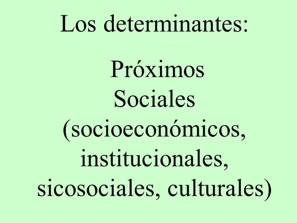 Los determinantes: Próximos Sociales (socioeconómicos, institucionales, sicosociales, culturales)