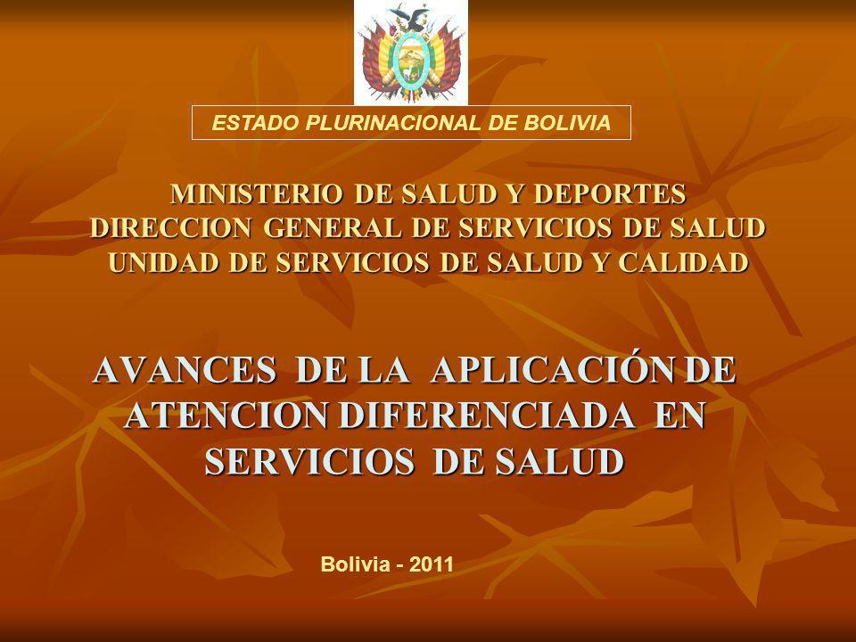 MINISTERIO DE SALUD Y DEPORTES DIRECCION GENERAL DE SERVICIOS DE SALUD UNIDAD DE SERVICIOS DE SALUD Y CALIDAD AVANCES DE LA APLICACIÓN DE ATENCION DIFERENCIADA EN SERVICIOS DE SALUD ESTADO PLURINACIONAL DE BOLIVIA Bolivia - 2011