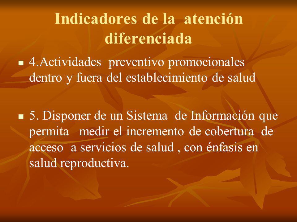 Indicadores de la atención diferenciada 4.Actividades preventivo promocionales dentro y fuera del establecimiento de salud 5.
