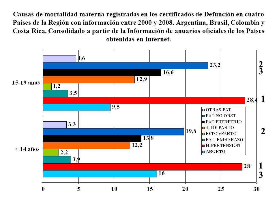 Causas de mortalidad materna registradas en los certificados de Defunción en cuatro Países de la Región con información entre 2000 y 2008. Argentina,