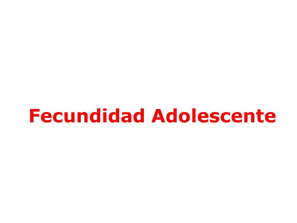Razón de Fecundidad en <de 15 años por 1000 mujeres en la respectiva edad.