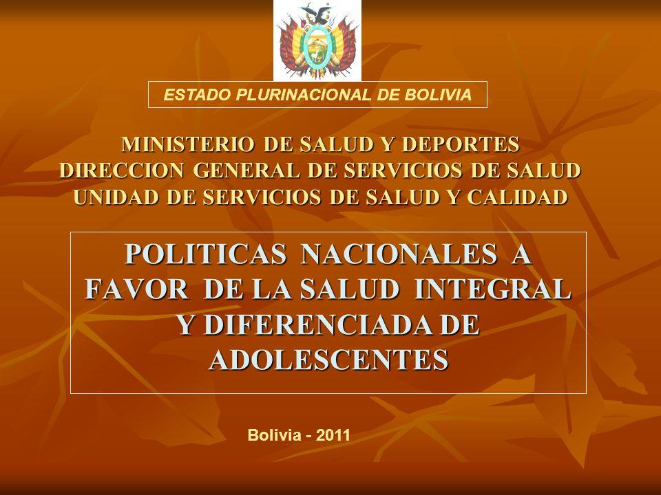 MINISTERIO DE SALUD Y DEPORTES DIRECCION GENERAL DE SERVICIOS DE SALUD UNIDAD DE SERVICIOS DE SALUD Y CALIDAD POLITICAS NACIONALES A FAVOR DE LA SALUD